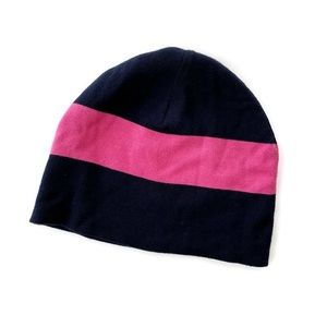 Brooks Brothers Women's Beanie Hat Navy & Pink